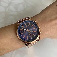 Женские наручные часы Geneva металлические розовое золото с синим