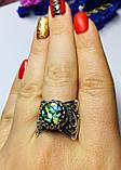 Срібне кільце з гелиотисом Фламенко, фото 2