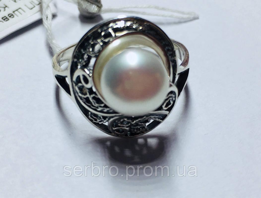 Колечко с белым жемчугом в серебре Шарлота