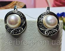 Срібні сережки з перлами Шарлота