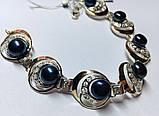 Серебряный браслетик с золотом и  черным жемчугом  Люция, фото 4