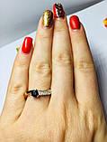Кільце в сріблі з золотом і чорним фианитом Шеріл, фото 4