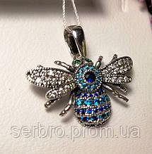 Срібний кулон з блакитним цирконом Джміль