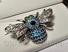 Брошь с голубым цирконом серебро Шмель