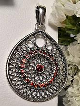 Серебряный каплевидный подвес с красным цирконом Венеция