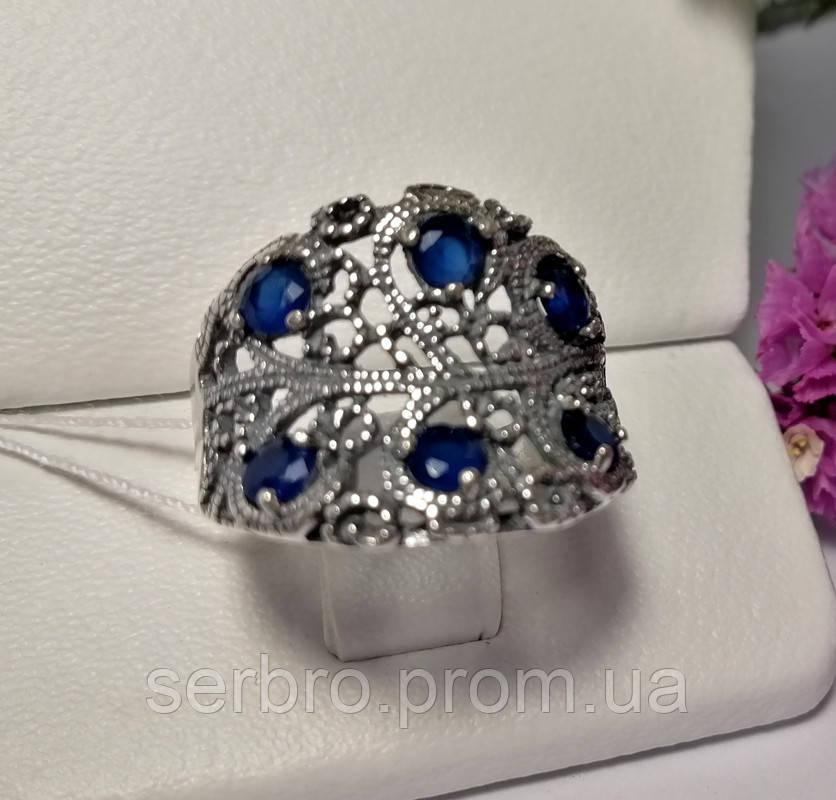 Срібне кільце з синім цирконом Касабланка