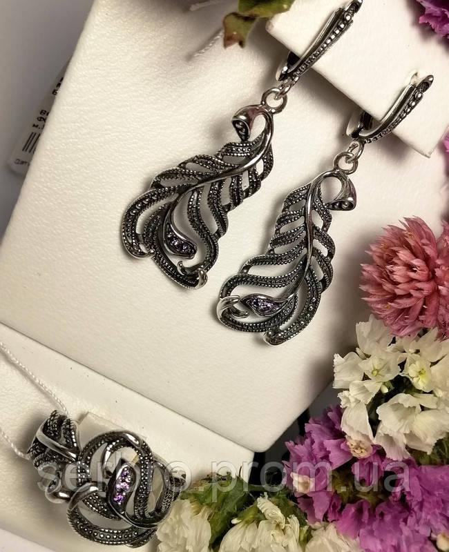 Серебряный гарнитур в виде перышка с цирконом Фламинго