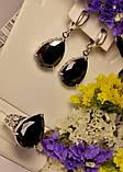 Серебряный набор с черным цирконом Агата, фото 6