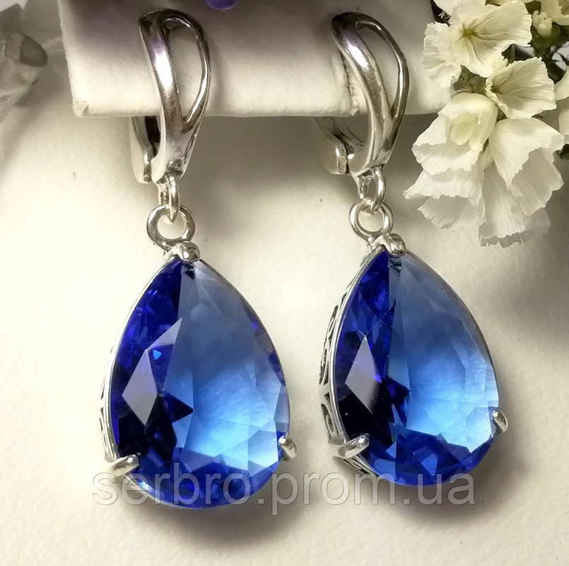 Серебряные сережки с подвесом и синим цирконом Агата