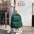 Молодежный зелёный  рюкзак однотонный с водонепроницаемой пропиткой., фото 2