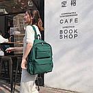 Молодежный зелёный  рюкзак однотонный с водонепроницаемой пропиткой., фото 3