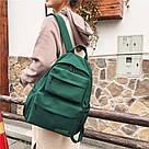 Молодежный зелёный  рюкзак однотонный с водонепроницаемой пропиткой., фото 5