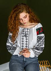 Женская нарядная блузка - вышиванка Аничка, длинный рукав, р. 44,46,48,50,52,54,56 белая с черным