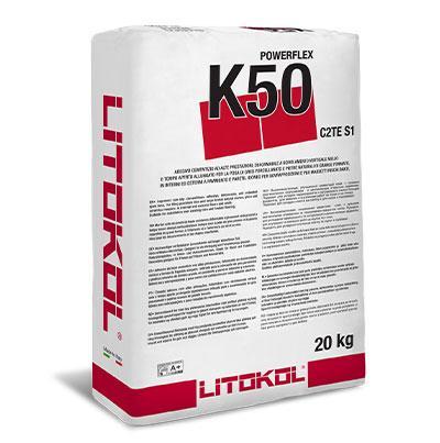 Клей для керамогранита и натурального камня Litokol Powerflex K50(серый) 20 кг
