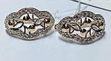 Срібні сережки з золотом і цирконом Маріз, фото 3