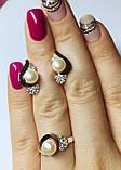 Срібний набір з білим золотом і перлами Розалі, фото 4