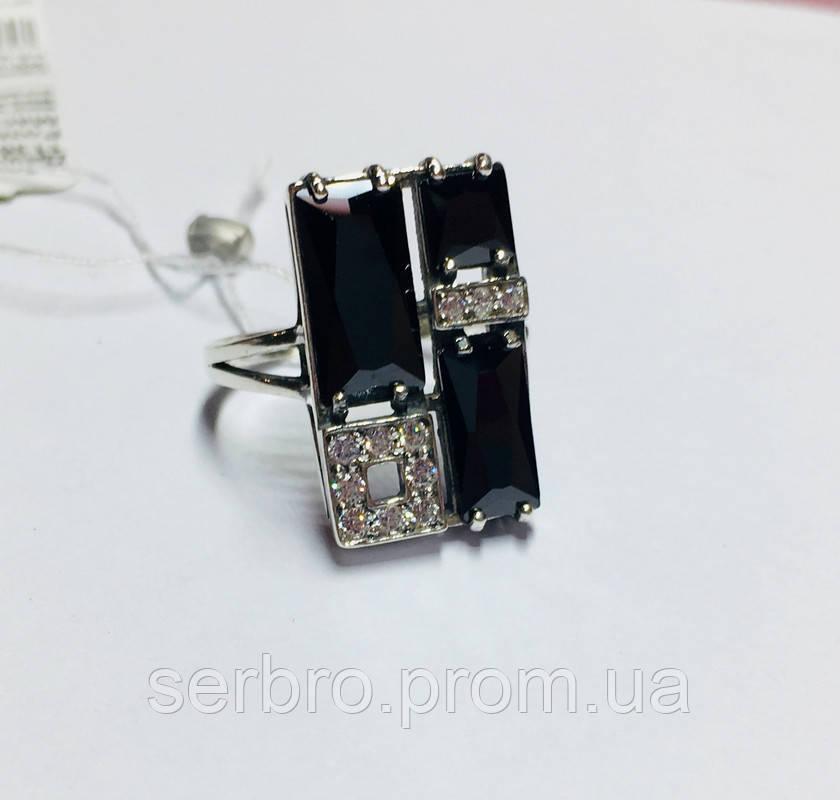 Серебряное колечко с черными цирконами Диалог