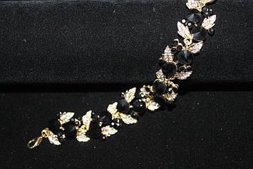 Нежный браслет золотистый с черными камнями горный хрусталь