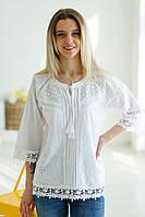 Вишукана літня жіноча біла батистова ажурна блуза №2019