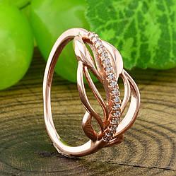 Кольцо Xuping 14227 размер 22 ширина 10 мм вес 2 г белые фианиты позолота РО