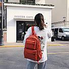 Однотонный оранжевый рюкзак женский с водонепроницаемой пропиткой., фото 3