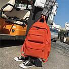 Однотонный оранжевый рюкзак женский с водонепроницаемой пропиткой., фото 4