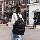 Молодежный черный рюкзак однотонный с карманами., фото 3