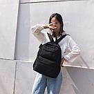 Молодежный черный рюкзак однотонный с карманами., фото 2