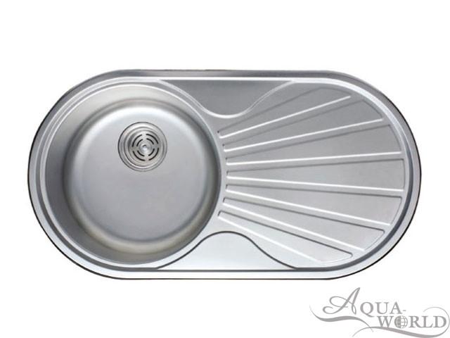 Мойка кухонная нержавеющая сталь овальная 840 мм Aqua-World