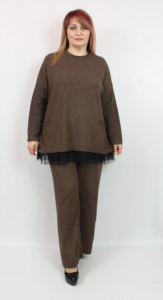 Турецкий женский трикотажный брючный костюм, размеры 56-66