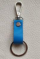 № 5 Стильный кожаный брелок для ключей с кольцом и карабином. Ручная работа.