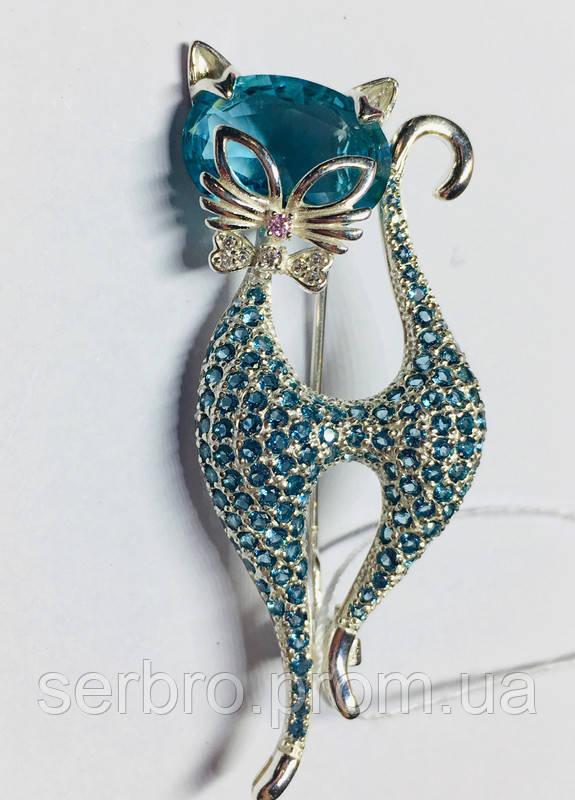 Срібна брошка з блакитними фіанітами Леді Кет