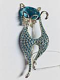 Срібна брошка з блакитними фіанітами Леді Кет, фото 2