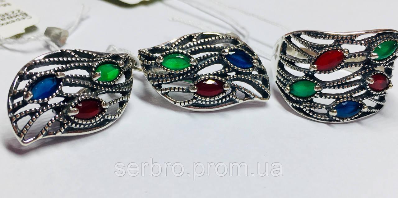 Срібний комплект з кольоровими цирконами Вівальді