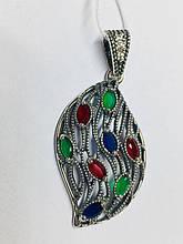 Кулончик листочок срібло з цирконом Вівальді