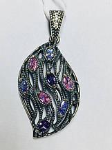Кулон в виде листика   серебро с цирконом Вивальди