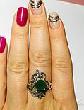 Ажурне кільце із зеленим цирконом срібло Прима, фото 3