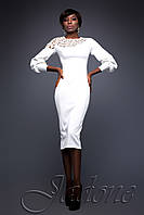 Элегантное белое платье Розет 42-50 размеры Jadone