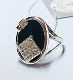 Овальное серебряное кольцо с золотом и ониксом Нинет, фото 2