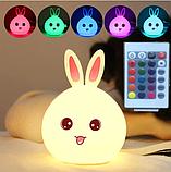 Силиконовый ночник 3DTOYSLAMP Кролик с розовыми ушками 16 цветов Пульт ДУ, фото 2