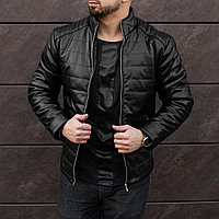 Кожаная куртка мужская черная до 0*С весенняя / осенняя ЛЮКС качества