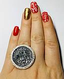 Кругле кільце срібло з золотом і камінням Swarovski Марісабель, фото 4