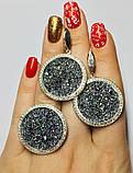Круглый гарнитур серебро с золотом и камнями Swarovski  Марисабель, фото 3