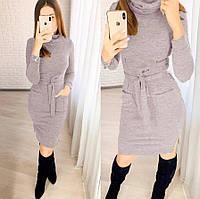 Приталенное платье с карманами и поясом из ангоры 50-52 размер