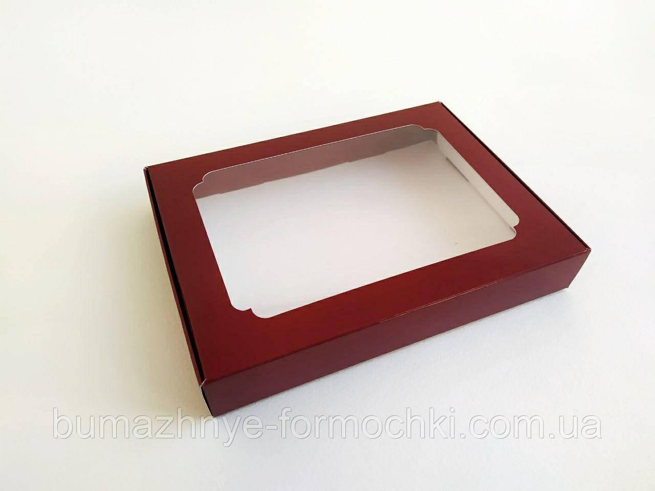 Коробка для пряников, 150*200*30, бордовая