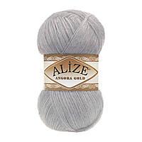 Зимняя пряжа (20% шерсть, 80% акрил; 100г/550м) Alize Angora Gold 614(серый меланж)