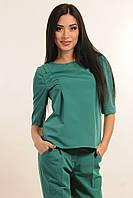 Блуза прямого вільного крою з фігурним низом, декоративні рельєфи, кофточка, костюмна тканина, фото 1