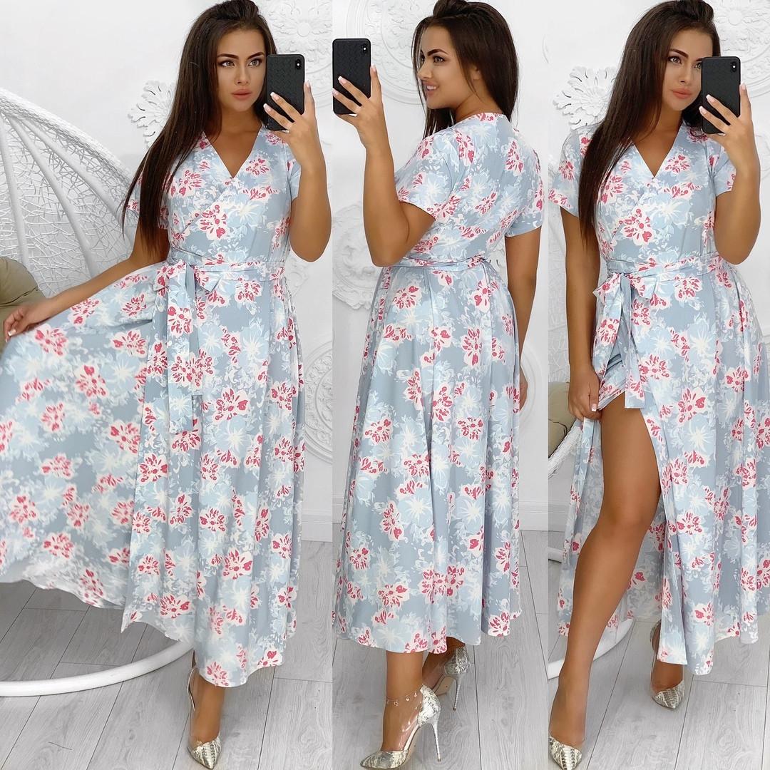Летнее женское платье на запах с цветочным принтом50-56р. (10расцв)