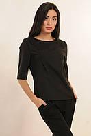 Блуза прямого свободного кроя с фигурным низом, декоративные рельефы, кофточка, костюмная ткань, фото 1