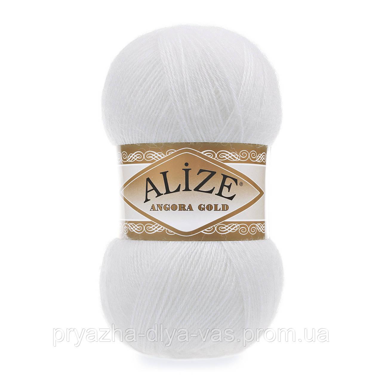 Зимняя пряжа (20% шерсть, 80% акрил; 100г/550м) Alize Angora Gold 55 (белый)